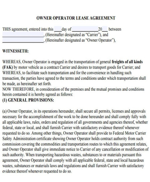 operator lease agreement template trucking company