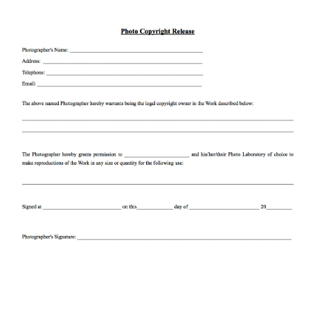 photography release form copyright release