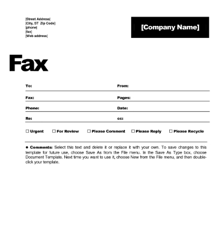 sample fax cover letter template free