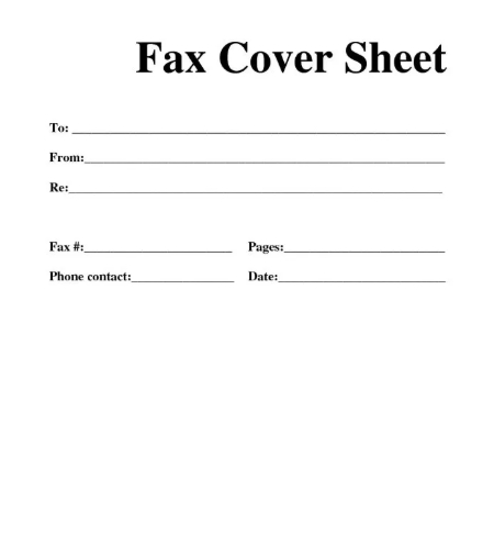 sample fax cover sheet template